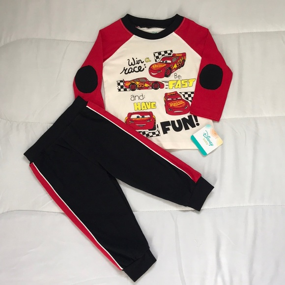 Disney Cars Boys Disneys Short Sleeve T-Shirt and Jersey Short 2-Piece Set